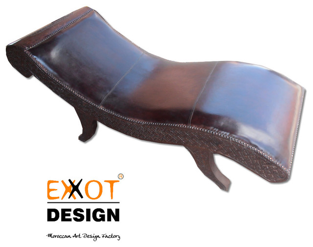 Moroccan Wooden Italian Leather  Chaise Lounge mediterranean