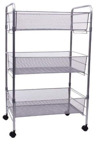 Mesh Rolling Cart, Giant Silver - Contemporary - Filing Cabinets - by The Organizing Store