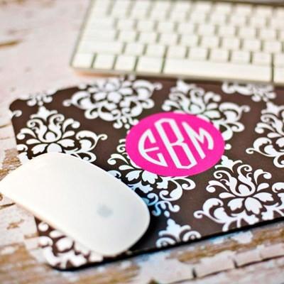 Clairebella Personalized Mouse Pad, Damask modern-desk-accessories