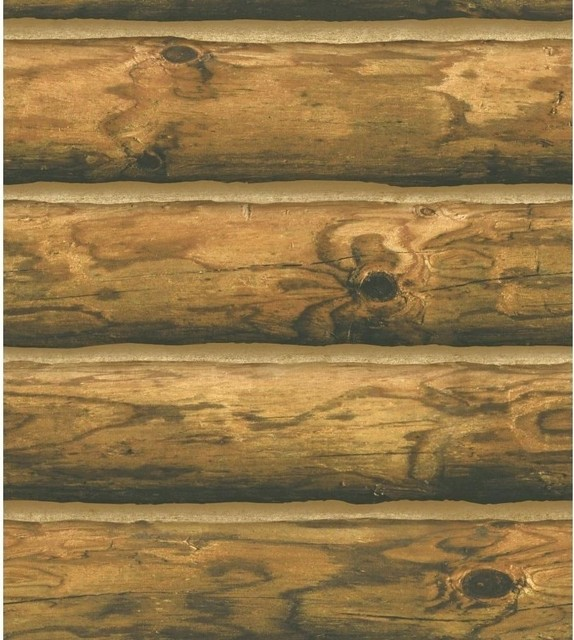 Ch7980 Mountain Logs Lodge Wood Stripe Wallpaper Rustic