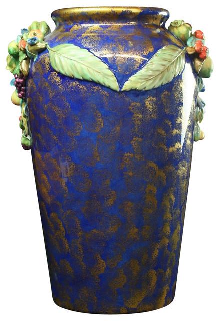 Large Italian Majolica Umbrella Stand Vase traditional-vases