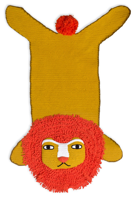 Junior Crocheted Lion Rug contemporary-kids-rugs