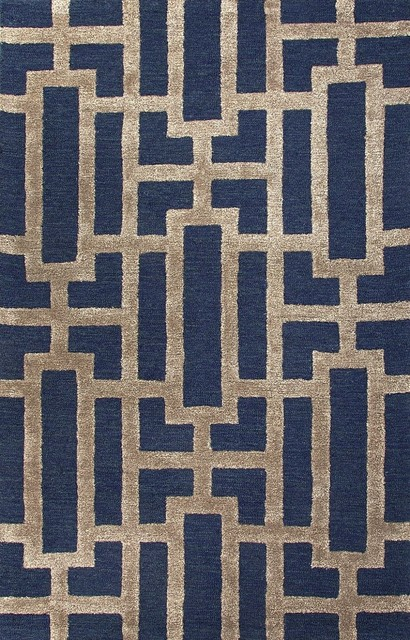 Contemporary City 5'x8' Rectangle Deep Navy Area Rug contemporary-rugs