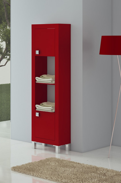 macral bella 17 and 3 4 inches bathroom linen cabinet red matt lacquered modern bathroom