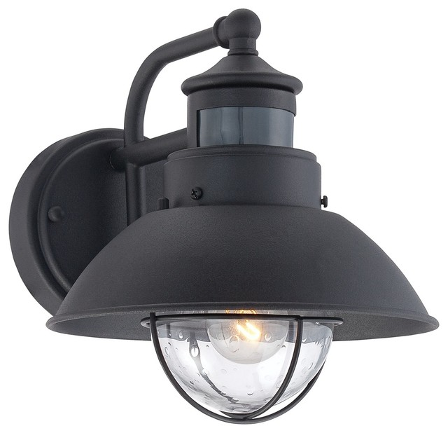 Outdoor Wall Sconce With Light Sensor : Traditional Fallbrook Black 9