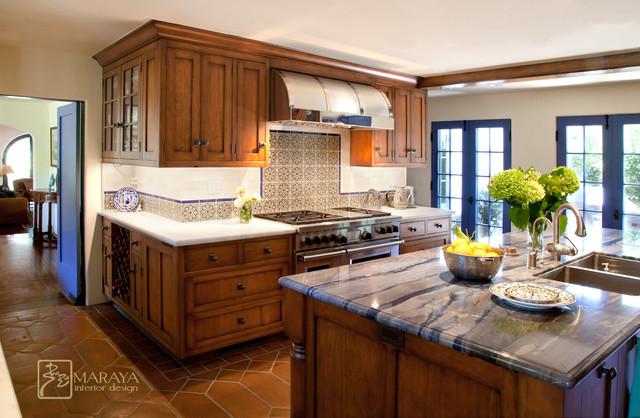 Blue Spanish Colonial Kitchen - Mediterranean - Kitchen - santa ...