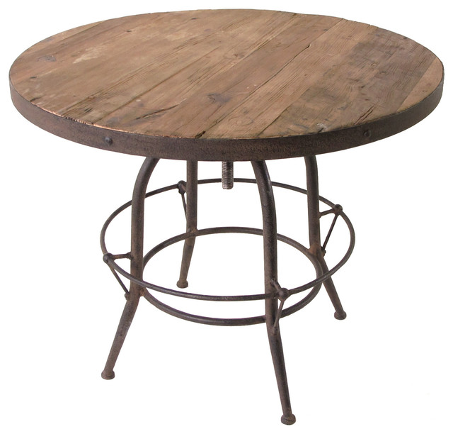 Wood Industrial Adjustable Dining Bar Table Industrial Bar Tables