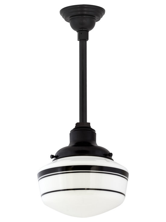 Primary Schoolhouse Stem Mount Pendant - The schoolhouse pendant light you love, with more styling options! Add personality with a custom stem or colorful hand-painted bands on the opal glass globe.