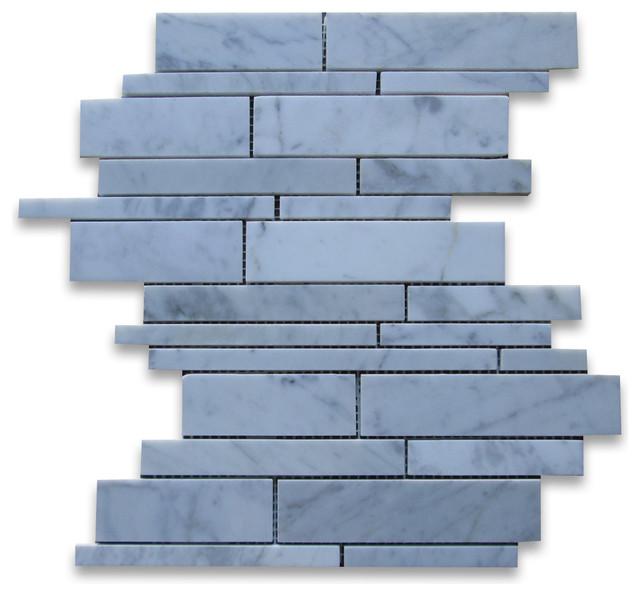 Carrara Marble Random Strip Modern Brick Mosaic Tile Polished traditional-floor-tiles