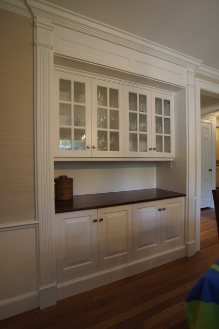 Classic dining room hutch traditional boston by for Built in dining room cabinet designs