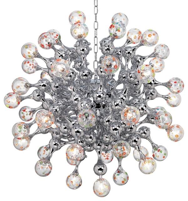 Centauri Chrome Halogen Glass Globe Pendant Chandelier eclectic-chandeliers
