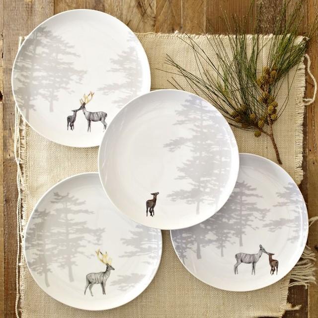 Reindeer Organic Dessert Plates, Set of 4 eclectic-dinner-plates