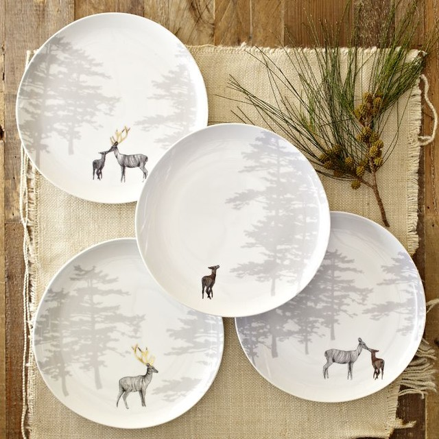 Reindeer Organic Dessert Plates, Set of 4 - eclectic - plates - by