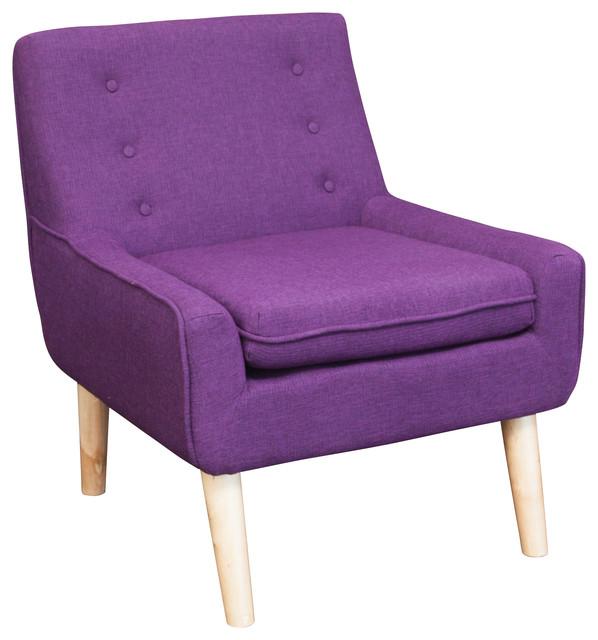 Brocktson Fabric Retro Accent Chair Purple Midcentury