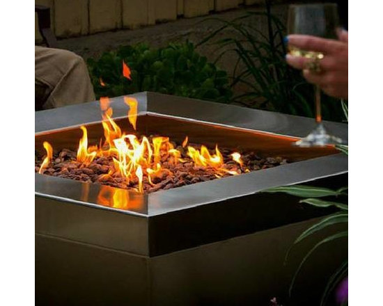 "48"" Square Brushed Stainless Steel - Brushed Stainless Steel Fire Pit"