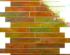 """Chestnut 1"""" x 6"""" Brown Brick Victorian Glossy and Iridescent Glass contemporary-tile"""