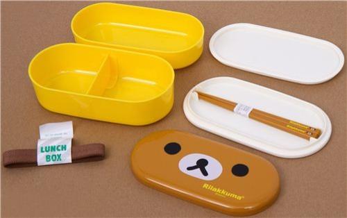 Yellow rilakkuma bear bento box with brown bear face kitchen products