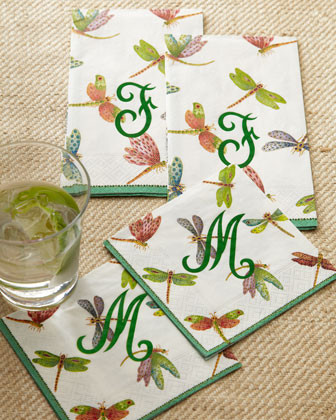 Caspari 100 Dragonfly Guest Towels traditional-wine-and-bar-tools