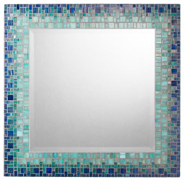 Mosaic mirror deep blue teal handmade 18 for Teal framed mirror