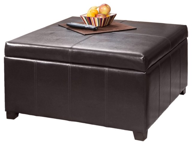 Brown Leather Square Storage Ottoman