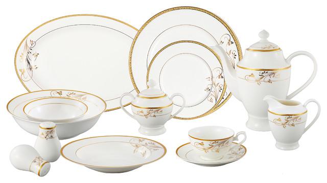 Lorren Home Trends La Luna Bone China 57-piece Gold Floral Design Dinnerware Set - Contemporary ...
