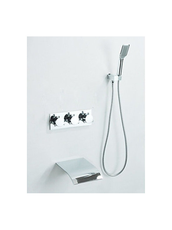 Shower Faucets - Chrome Finish - Waterfall Tub Faucet with Hand Shower (Wall Mount)--FaucetSuperDeal.com