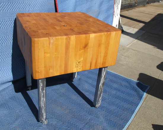 """Examples of available inventory - bryan appleton, 30x30x 13"""" deep maple butcher block found at Alameda, Ca. antique market. Refinished, industrial polished steel legs with wheels added."""