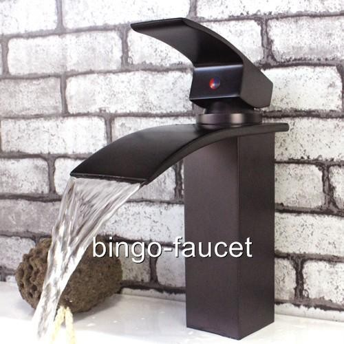 Contemporary Waterfall Bathroom Sink Faucets In Oil Rubbed Bronze 8061Q contemporary-bathroom-sink-faucets