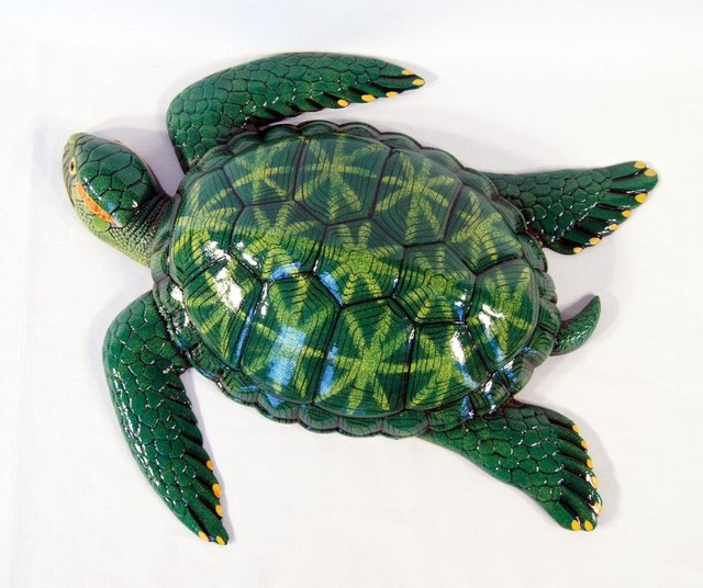 Tropical Green Sea Turtle Beach Tiki Bath Kids Wall Decor