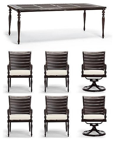 British Colonial 7-pc. Dining Set - Frontgate traditional-outdoor-dining-tables