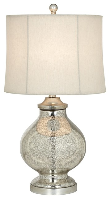 Transitional Kathy Ireland Manhattan Modern Tall Silver Glass Table Lamp contemporary-table-lamps