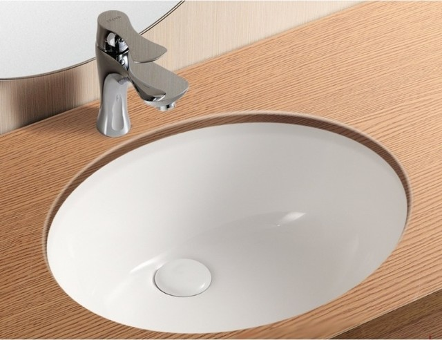 Oval White Ceramic Undermount Bathroom Sink - Contemporary ...
