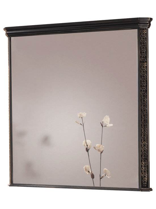 Macral - London Wall-Framed Mirror - Add stately elegance to your bathroom with this solid wood framed mirror. The Black-Golden patina finish makes the geometric engravings on the frame really shine. This crystal mirror is simply unforgettable.