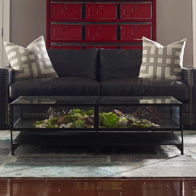 Shadow box metal and glass coffee table industrial coffee tables new york by zin home Glass box coffee table