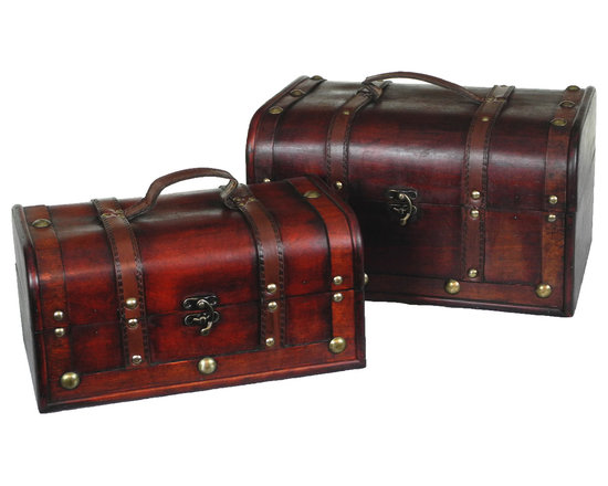 Decorative Wood Treasure Box - Wooden Trunk Chest Set of 2 - Decorative trunk that is great for storage and decoration Great Tressure Box Small wood trunk Old Fashioned hardware adds to antique look Our warm and welcoming steamer trunk brings back days of old time. Remember how excited you are when you were a little kid to look into your grandma's old chest, our decorative trunks will bring back those memories and help you create some new ones too. Our hope chest boxes are all handcrafted and tailored to enhance the existing decor of any room in the home. Great to use for your very own treasure chest! �