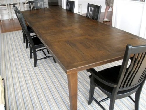 Custom 12 39 ft rustic oak dining table in customer 39 s home for 12 ft table