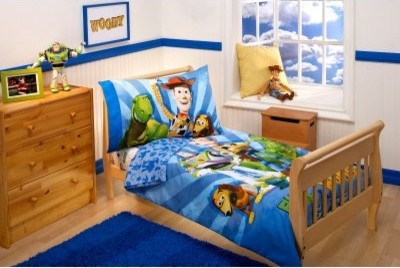 Disney Buzz and Woody and The Gang 4 pc Toddler Bedding Set modern-bed-pillows