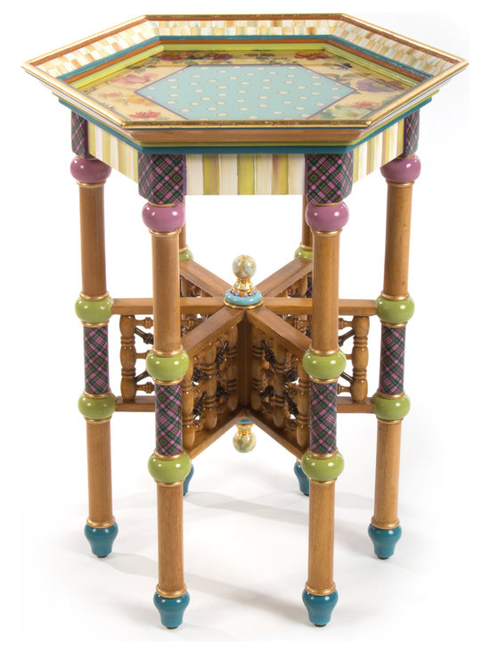 Eeny Accent Table | MacKenzie-Childs - The Eeny, Miny, and Mo Accent Tables speak for themselves. Truly fun. (We left out the Meeny.) An incredible feat of hand joinery and craftsmanship, this hexagonal tray table is inspired by Moorish designs of the 19th century. Accented with Parchment Check™, tartan, and floral decals. Imported Gmelina wood, hand-painted in Aurora.