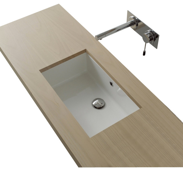 Rectangular White Ceramic Undermount Sink No Hole Contemporary Bathroom
