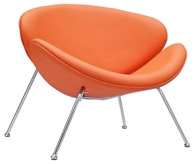 Nutshell Lounge Chair in Orange Modern Outdoor Chaise Lounges by LexMod
