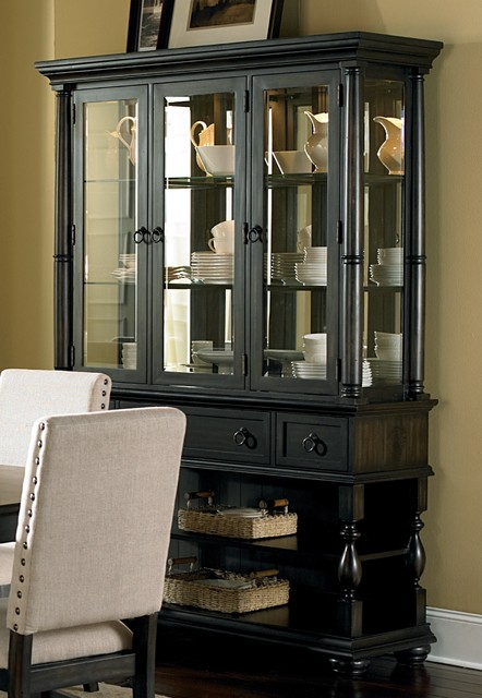 Loraine Antiqued Charcoal Buffet and Hutch - Contemporary - China Cabinets And Hutches - by ...