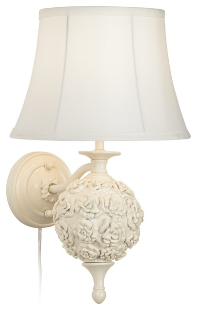 Wall Sconces From Lamps Plus : Country - Cottage Wakefield Roses White Plug-In Wall Lamp - Traditional - Wall Lighting - by ...