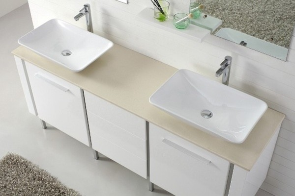 Catalan 1800 contemporary double basin white vanity for Double bathroom sink basin