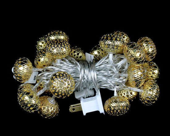 Christmas Home Decorations - Oval Filigree LED Ornament Lights - These gorgeous filigree LED Ornament Light Strings will make your holiday decorations sparkle. Very classy!