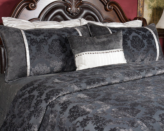 Bedding 2013 - Luxurious Charcole cut velevet complimented by a crinkle silver fabric, and embellished with beaded trimming.