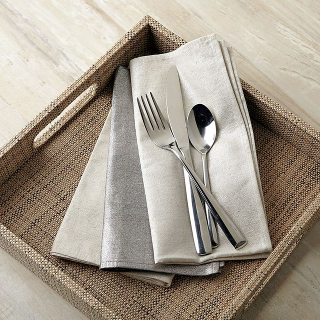 Metallic Printed Napkin Set contemporary-napkins