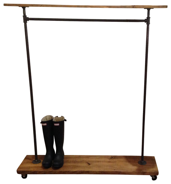 Urban Industrial Garment Rack with Top Shelf - Industrial - Clothes Racks - by Edna Faye Creations