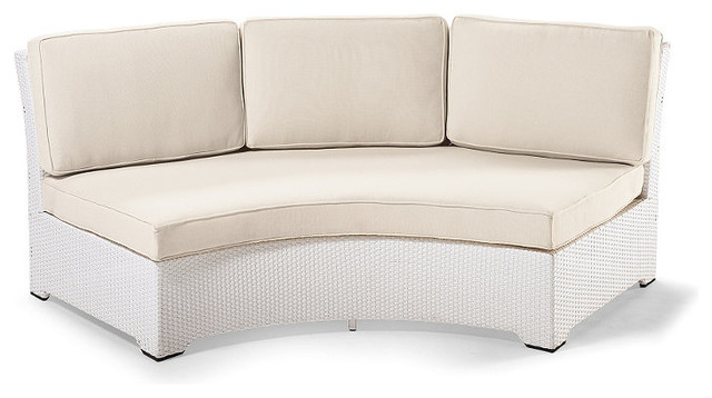 palermo armless curved outdoor sofa with cushions in white finish patio furnitu traditional
