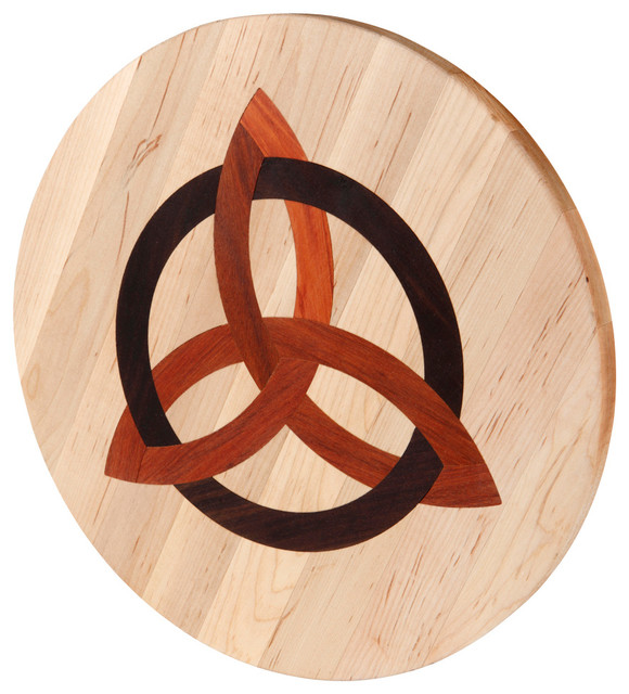 Round Maple Cutting Board with Celtic Trinity transitional-cutting-boards