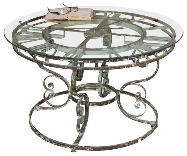 """Shabby Chic Round Wood Coffee Table: Uttermost Gilbertine Round Glass 36"""" Clock Table"""